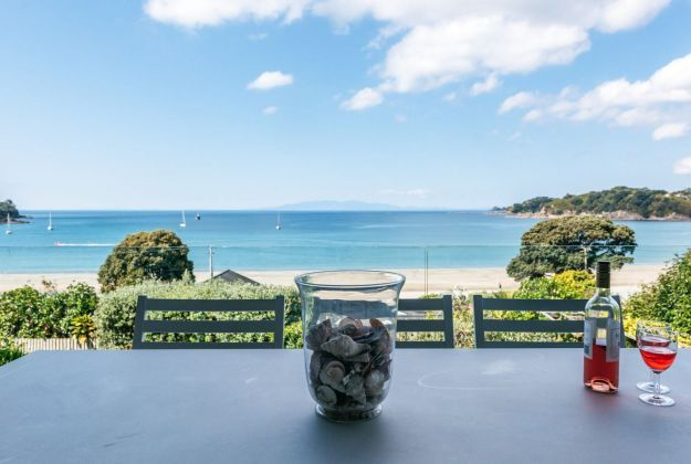 Beach view from guest bedroom Oneroa Bay | Be My Guest Waiheke